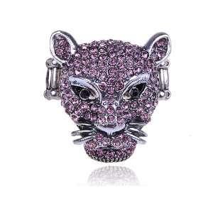 Pink Crystal Rhinestone Leopard Cheetah Fierce Wild Animal Head Ring