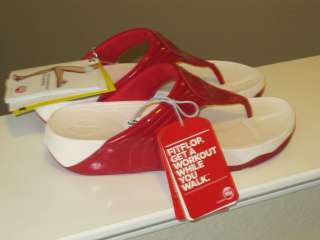 FitFlop Walkstar III 360 Red Patent Leather Sandal 10