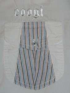COOGI Mens White Button Down Shirt Embroidery Stripe XL
