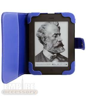 Blue Leather Case Cover for Barnes & Noble Nook Simple Touch eReader