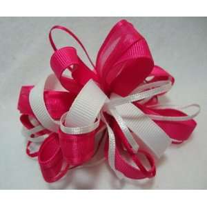 Bright Pink and White Girls Hair Bow Beauty