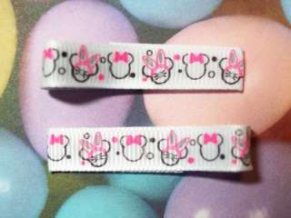 Grosgrain with Easter Bunny Ears Minnie Mouse Heads Girls Hair Clips