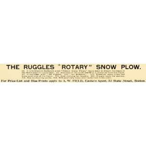1898 Ad Ruggles Rotary Snow Plow A W Field State Street