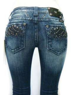 ME Studded Rhinestone Soar Flying Angel Wings Dark Blue Jeans