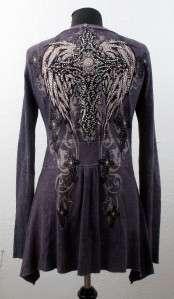 Womens Sweater Top Rhinestones Gothic Cross Wings Jacket NEW