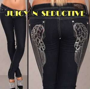 Skinny Jeans ANGEL WINGS II + Ed Hardy tattoo♥ S/M/L/XL/XXL
