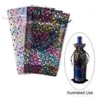 Organza Wine bottle gift bag Black/White w/Heart design