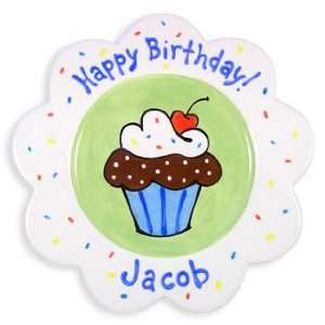 personalized birthday cake plate   boy: Kitchen & Dining