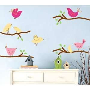 Kids tree branch set of 4 vinyl wall decal with 8 penelope