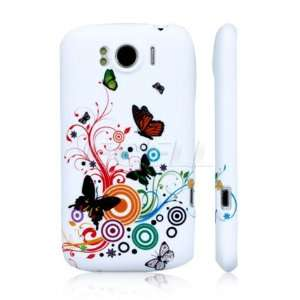 WHITE SWIRL BUTTERFLY SILICONE GEL CASE COVER FOR HTC SENSATION XL