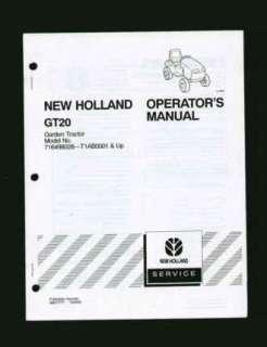 New Holland GT20 Garden Tractor Operators Manual NRMT