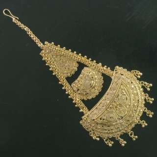WEDDING INDIAN BRIDAL GOLD TONE DESIGNER HAIR JEWELRY JHOOMER