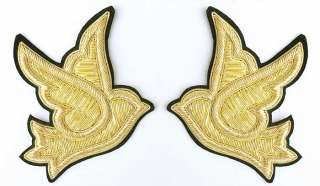 """Hand Embroidered, Bullion Appliques. 4¼"""" Pair of Doves"""