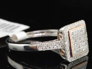 LADIES WHITE & ROSE GOLD DIAMOND PAVE ENGAGEMENT RING