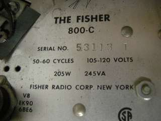 VINTAGE FISHER 800C FM STEREO TUBE AMP RECEIVER W/ORIGINAL CABINET