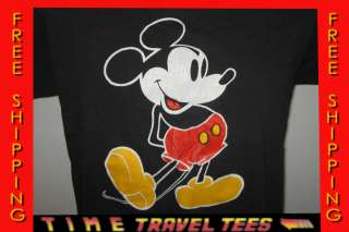vintage 80s MICKEY MOUSE BLACK T Shirt SMALL/MEDIUM walt disney world