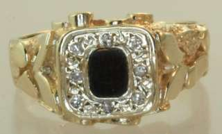 14k yellow gold diamond onyx mens gents ring estate vintage antique 8