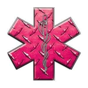 Star of Life EMT EMS Diamond Plate Pink 6 Reflective