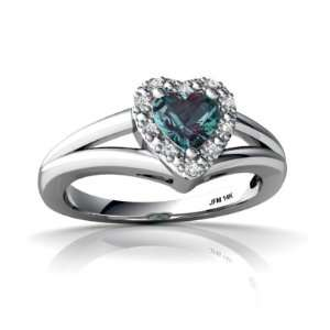 14K White Gold Heart Created Alexandrite Ring Size 5 Jewelry