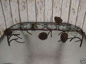 Pinecone Votive Bridge ~ Lodge Cabin Decor ~ Pine Cone