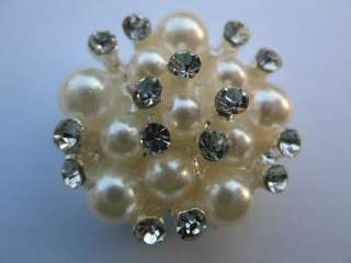 Sparkling Clear Crystal Rhinestone Pearl Buttons #A90