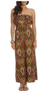 WET SEAL Long Boho Strapless Ruffle Brown Tribal Print Tube Maxi Dress