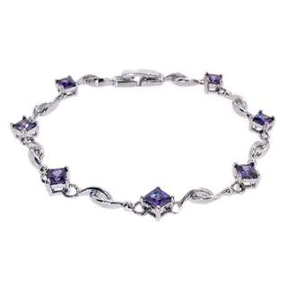 CHARMING WEDDING Purple Amethyst 18K White Gold Plated Princess Cut