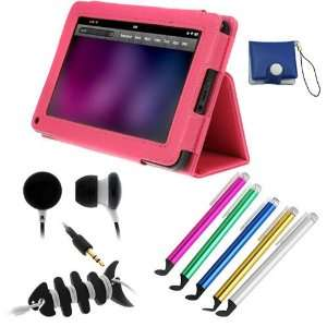 Hot Pink Folio Stand Leather Case + 5pc Universal Stylus with Flat