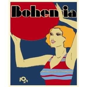Cuban posterDeco girl playing w/Beach Ball.Retro.102