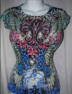 RAINBOW Fuchsia Roses~N~Fleur De Lis Angel Wing Rhinestone Tattoo Top