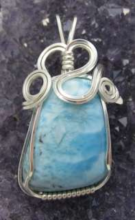 Larimar Blue Pectolite Dominican Gemstone Sterling Silver Wire Wrapped