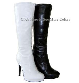 Super Sexy Club Wear Stretched Knee High Platform GoGo Boots White