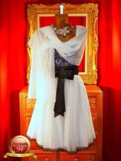 ROBE SOIREE mariée BLANC noir JC PARIS 04 T 40/42