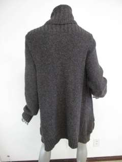 Vince Gray Long Sleeve Ribbed Trim Draped Chunky Sweater L