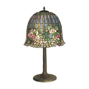 Table Lamp, Antique Bronze/Verde and Art Glass Shade: Home Improvement