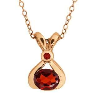 0.94 Ct Genuine Oval Red Garnet Gemstone 14k Rose Gold