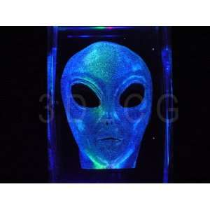 Alien Area 51 Roswell UFO 3D Laser Etched Crystal