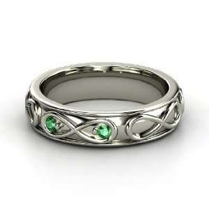 Infinite Love Ring, 14K White Gold Ring with Emerald