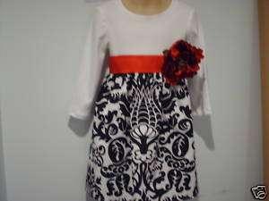 Damask Flower Girl Dress Black White Wedding Bridal Ams