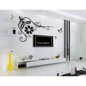 DIY Splendid Flower Vine PVC Wall Decal Stickers 60x50cm