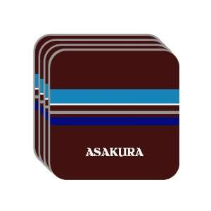 Personal Name Gift   ASAKURA Set of 4 Mini Mousepad Coasters (blue