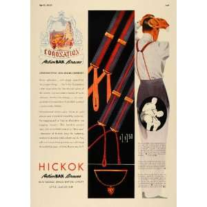 1937 Ad Hickok ActionBAK Braces Mens Suspenders Belts
