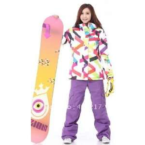 Free shipping womens colorful puzzle snowboarding jacket waterproof clothing for women ski suit skee anorak skiwear