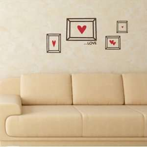 Removerble Wall Décor Stickers  Love Frames(red/pink Heart)