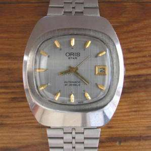 VINTAGE ORIS STAR AUTOMATIC 21JEWELS STEEL TV WATCH