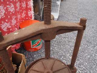 Cast Iron Cider Wine Press Rusty Relic Plant Stand End Table Primitive