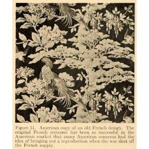 1919 Print French Design Fabric Birds Foliage Pattern