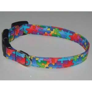 Autism Awareness Puzzle Pieces Style 2 Dog Collar X Small 1/2