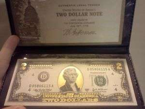 24K Gold $2 Two Dollar Bill Federal Reserve Note