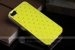 Light Yellow Luxury Bling Crystal Star Hard Case+Free Film For iPhone